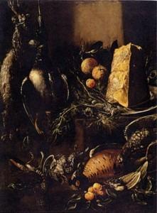 BARTOLOMEO ARBOTORI Natura morta con cacciagione e un pezzo di parmigiano